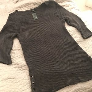 Torrid-Cable knit dark gray sweater tunic